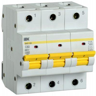 IEK (ИЭК) IEK Автоматический выключатель ВА47-150 3Р 80А 15кА характеристика C