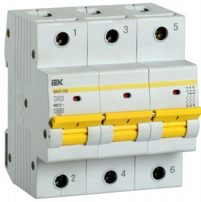 IEK (ИЭК) IEK Автоматический выключатель ВА47-150 3Р 63А 15кА характеристика D
