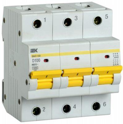 IEK (ИЭК) IEK Автоматический выключатель ВА47-150 3Р 100А 15кА характеристика D