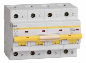 IEK (ИЭК) IEK Автоматический выключатель ВА47-100 4Р 20А 10кА характеристика C