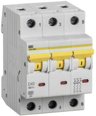 IEK (ИЭК) IEK Автоматический выключатель ВА 47-60 3Р 40А 6 кА х-ка D