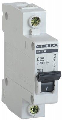 IEK (ИЭК) IEK GENERICA Автоматический выключатель ВА47-29 1Р 25А 4,5кА (С)