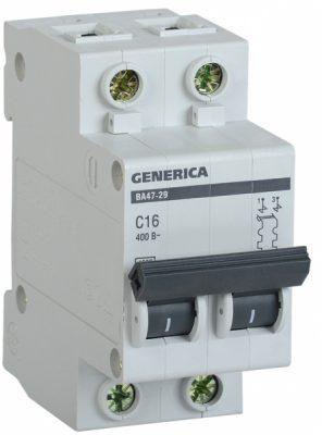 IEK (ИЭК) IEK GENERICA Автоматический выключатель ВА47-29 2Р 16А 4,5кА (С)