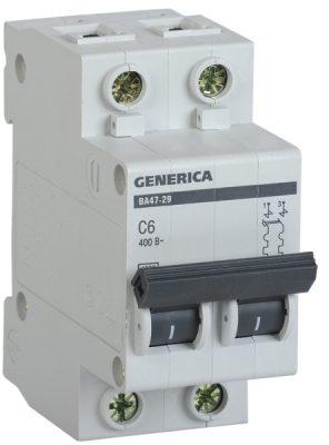 IEK (ИЭК) IEK GENERICA Автоматический выключатель ВА47-29 2Р 6А 4,5кА (С)