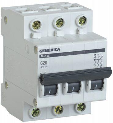 IEK (ИЭК) IEK GENERICA Автоматический выключатель ВА47-29 3Р 20А 4,5кА (С)