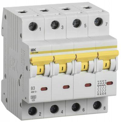 IEK (ИЭК) IEK Автоматический выключатель ВА47-60M 4Р 3А 6кА B
