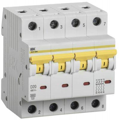 IEK (ИЭК) IEK Автоматический выключатель ВА47-60M 4Р 20А 6кА D