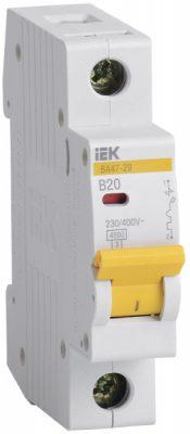 IEK (ИЭК) IEK Автоматический выключатель ВА47-29 1Р 20А 4,5кА х-ка В