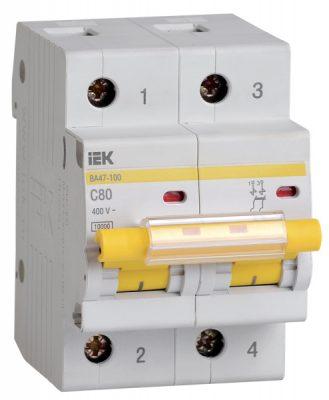IEK (ИЭК) IEK Автоматический выключатель ВА 47-100 2Р 80А 10 кА х-ка С