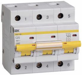 IEK (ИЭК) IEK Автоматический выключатель ВА 47-100 3Р 25А 10кА х-ка С