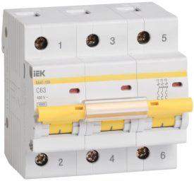 IEK (ИЭК) IEK Автоматический выключатель ВА 47-100 3Р 63А 10 кА х-ка С