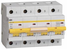 IEK (ИЭК) IEK Автоматический выключатель ВА 47-100 4Р 50А 10 кА х-ка С