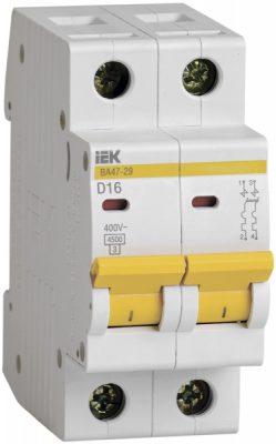 IEK (ИЭК) IEK Автоматический выключатель ВА47-29 2Р 16А 4,5кА х-ка D
