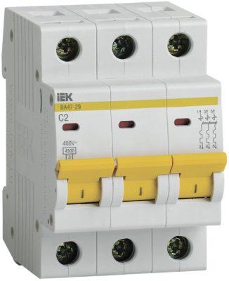 IEK (ИЭК) IEK Автоматический выключатель ВА47-29 3Р 2А 4,5кА х-ка С