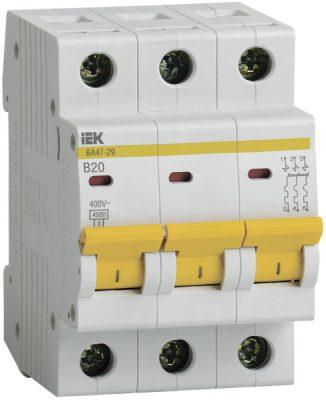 IEK (ИЭК) IEK Автоматический выключатель ВА47-29 3Р 20А 4,5кА х-ка В