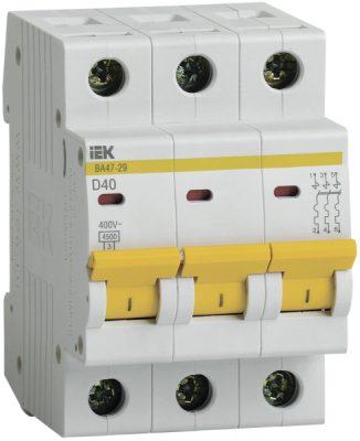 IEK (ИЭК) IEK Автоматический выключатель ВА47-29 3Р 40А 4,5кА х-ка D