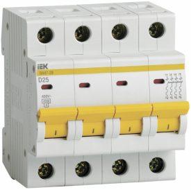 IEK (ИЭК) IEK Автоматический выключатель ВА47-29 4Р 25А 4,5кА х-ка D