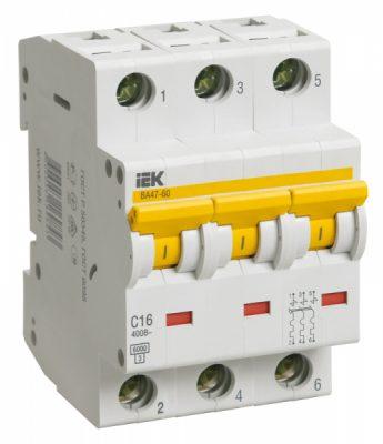 IEK (ИЭК) IEK Автоматический выключатель ВА 47-60 3Р 16А 6 кА х-ка С